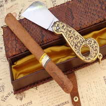 Cigar cutter knife engraved cm 8 by Lelle Floris