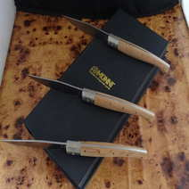 Set di 3 pattadesi da tavola in ginepro lama fissa